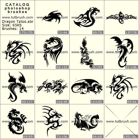 Photoshop brushes Tattoos of dragons