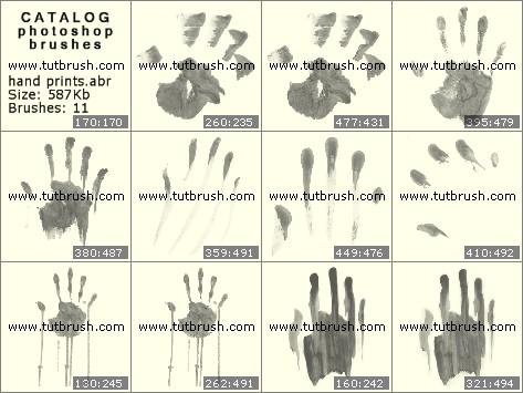 Кисти для фотошопа Отпечатки руки