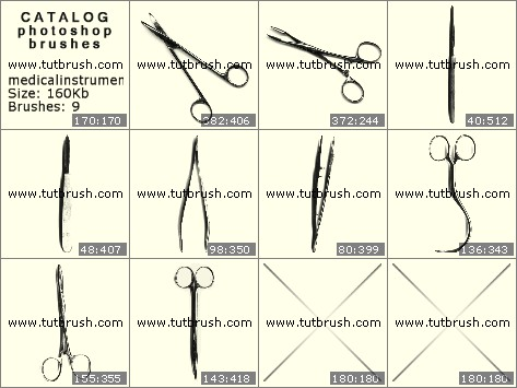 Photoshop brushes Scalpel and scissors