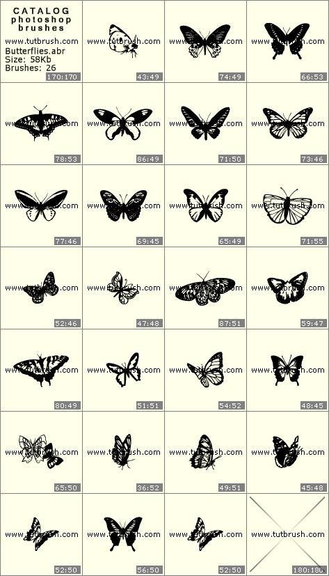 Кисти для фотошопа Бабочки