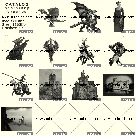 Кисти для фотошопа Древние замки и существа