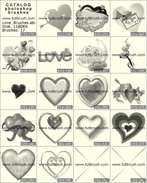 Кисти для фотошопа Приветственные сердечки