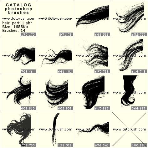 Кисти для фотошопа Пряди волос
