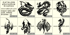 Dragon tattoos - photoshop brush preview