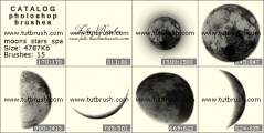 moon and stars - photoshop brush preview