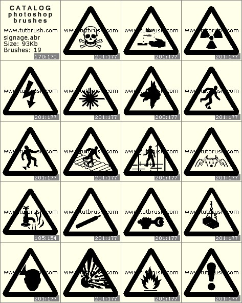 Кисти для фотошопа Информационные знаки