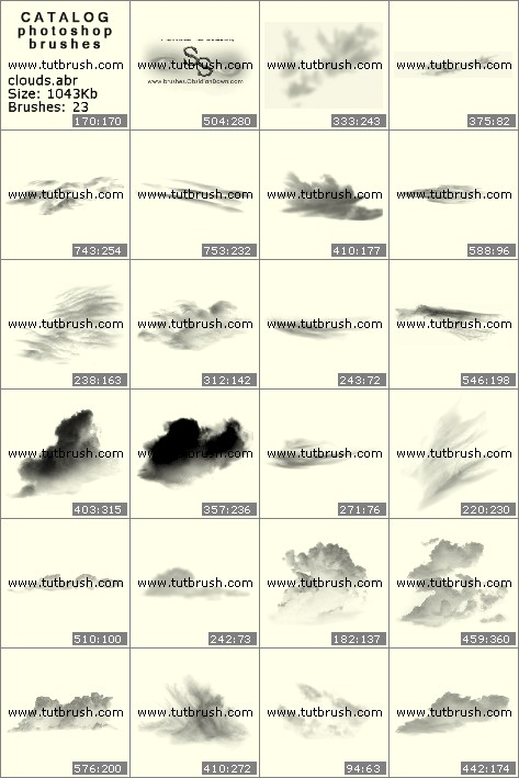 Photoshop brushes curly clouds