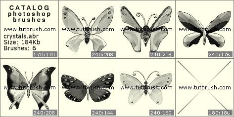 Кисти для фотошопа хрустальные бабочки