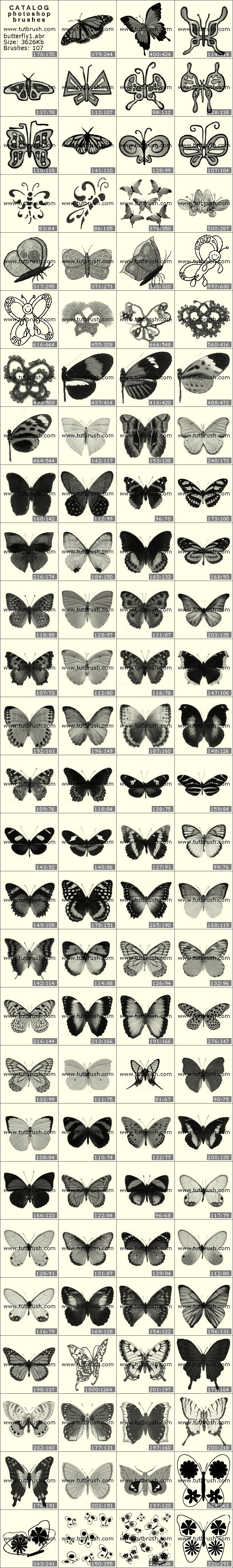 Кисти для фотошопа коллекция бабочек