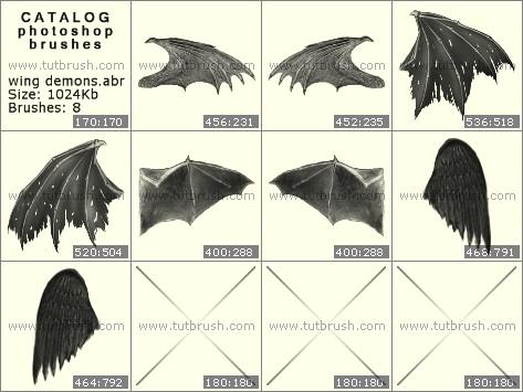 Кисти для фотошопа ужасные крылья