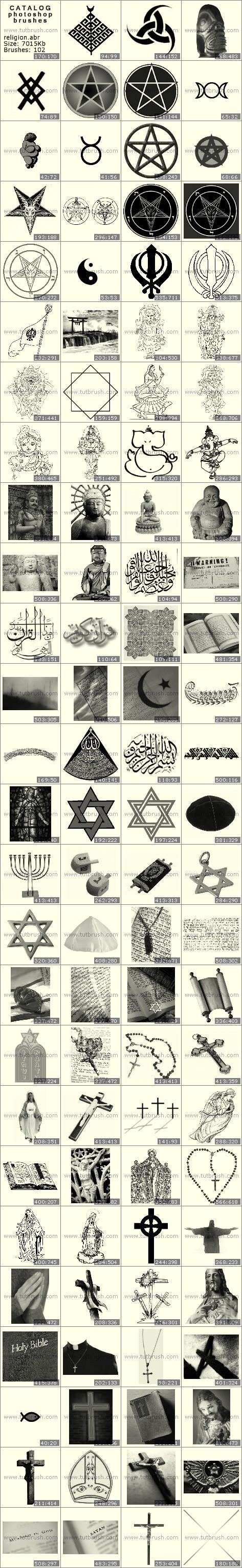 Photoshop brushes World Religions