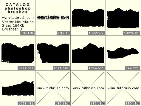 Кисти для фотошопа Векторные горы