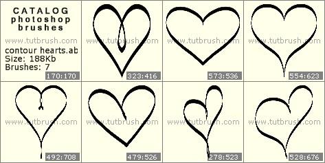 Кисти для фотошопа контурные сердечки