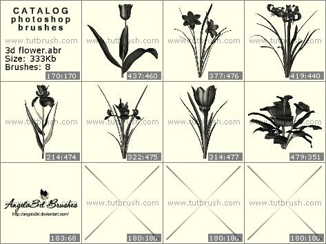Кисти для фотошопа 3D цветы