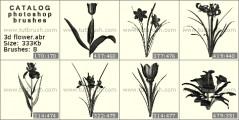 3D цветы - превью кисти фотошоп