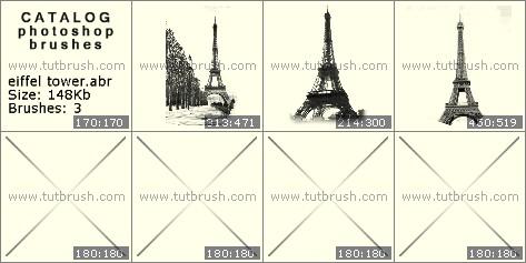 Кисти для фотошопа Эйфелева башня