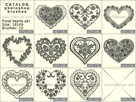 Кисти для фотошопа Цветочные сердечки