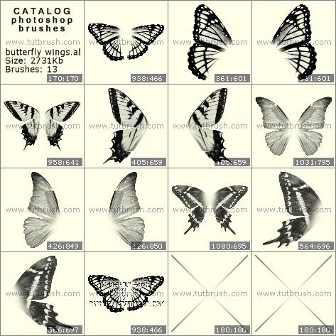 Кисти для фотошопа Крылышки бабочки