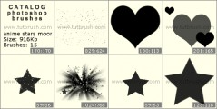 Anime hearts and stars - photoshop brush preview