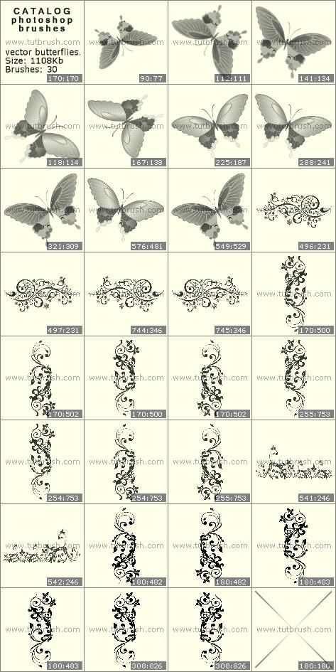Кисти для фотошопа Векторные бабочки