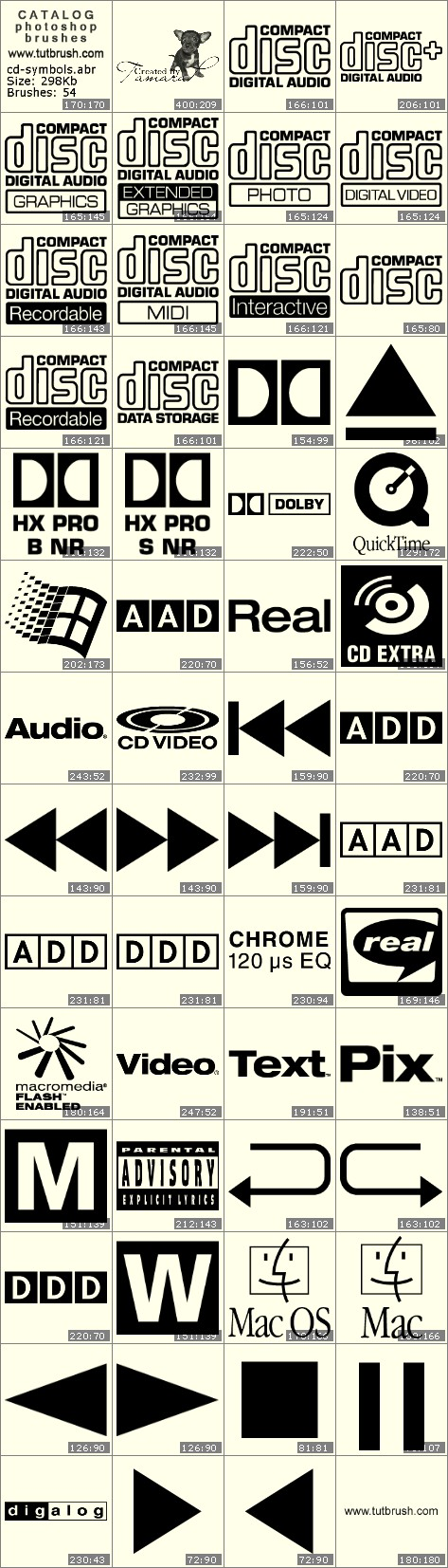 Photoshop brushes Signs on CD ROM