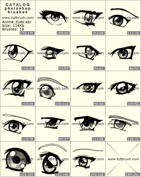 Кисти для фотошопа Глаза аниме
