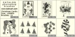 Новогодние открытки - превью кисти фотошоп