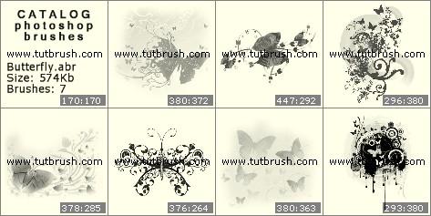 Кисти для фотошопа Прикольные бабочки
