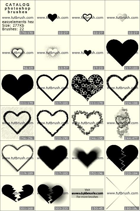 Кисти для фотошопа Простые сердечки