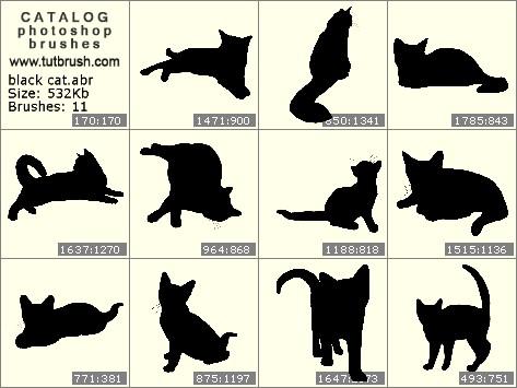 Кисти для фотошопа Черная кошка