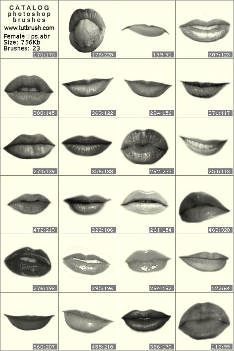Кисти для фотошопа Женские губы