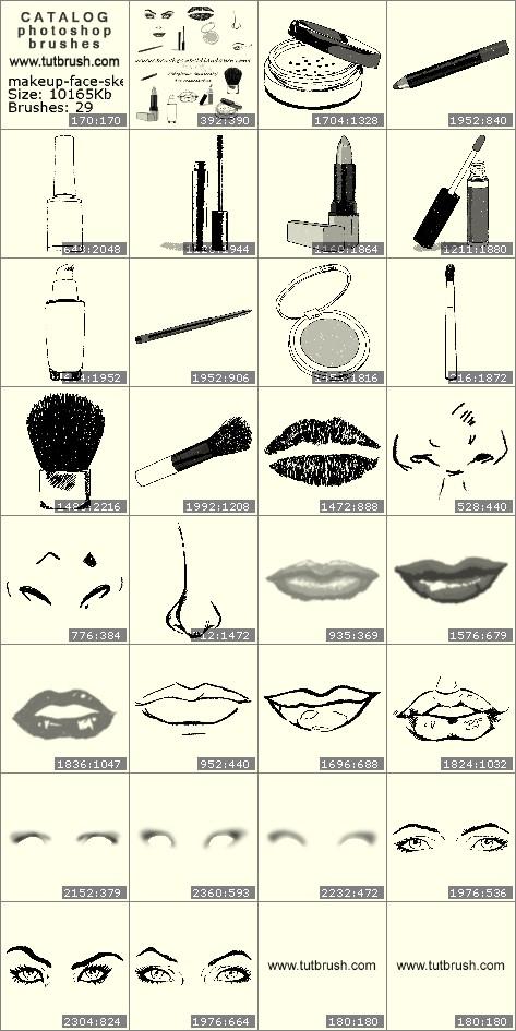Кисти для фотошопа Составляющие макияжа