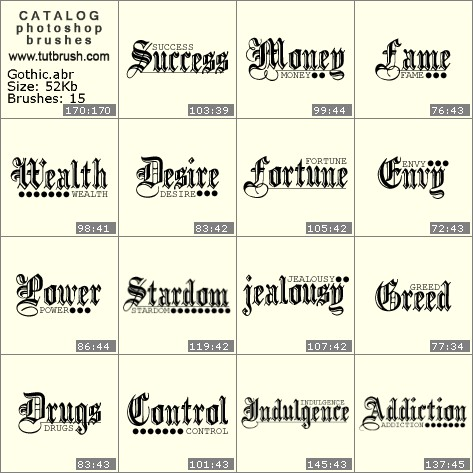 Кисти для фотошопа готический шрифт