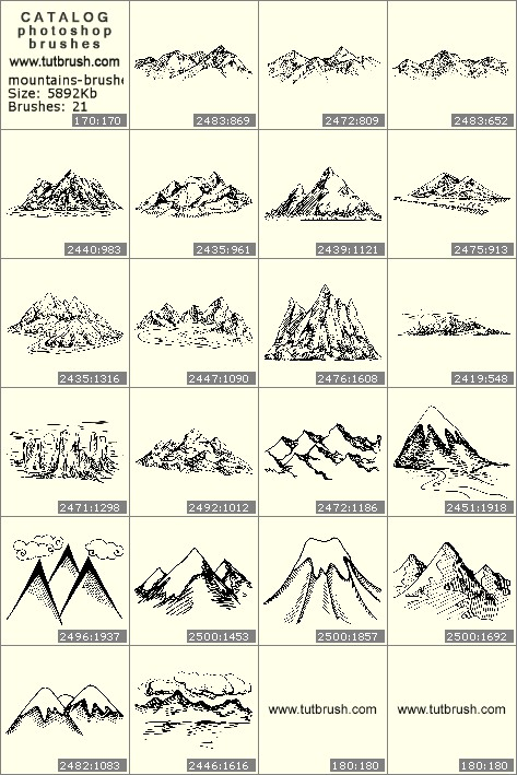 Photoshop brushes Mountain peaks