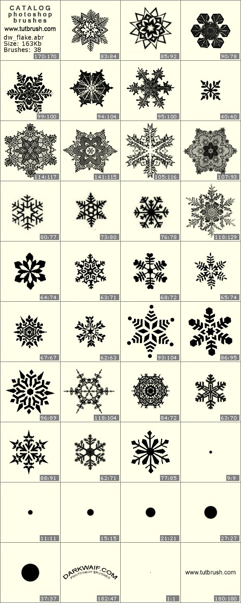 Photoshop brushes Assembly of snowflakes