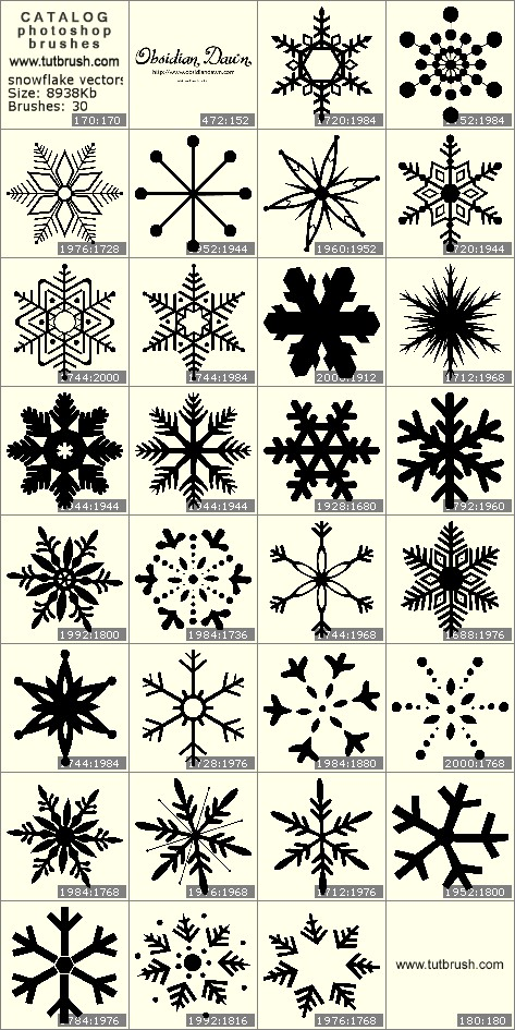 Кисти для фотошопа векторные снежинки