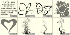flowers and butterflies - photoshop brush preview