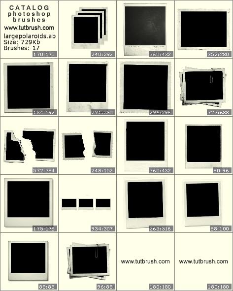 Photoshop brushes photo frame Polaroid