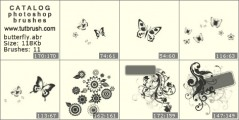 butterflies & flowers - photoshop brush preview