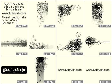 Кисти для фотошопа цветочный вектор