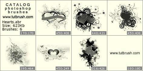 Кисти для фотошопа романтические сердечки