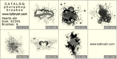 romantic hearts - photoshop brush preview