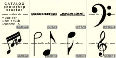 Musical instruments and notes - photoshop brush preview