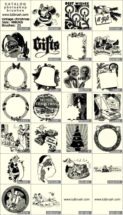 Кисти для фотошопа винтажный Санта