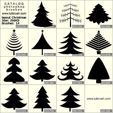 Кисти для фотошопа макет новогодней елки