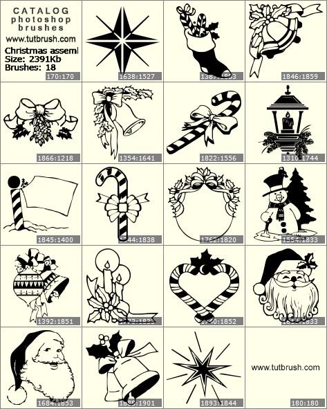 Кисти для фотошопа Рождественская сборка