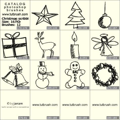 Кисти для фотошопа Рождественские писульки