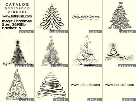 Кисти для фотошопа магическая Рождественская елка