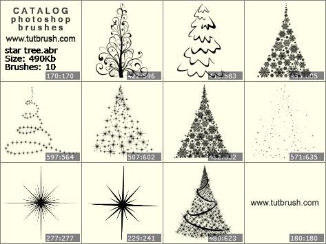 Кисти для фотошопа звездная елка