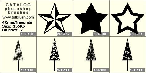 Кисти для фотошопа звезда новый год
